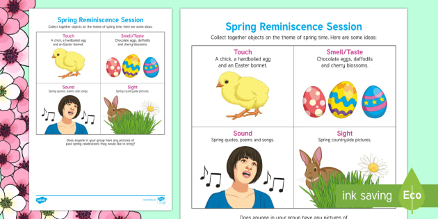 Spring Reminiscence Session Adult Guidance - Spring, Easter, Care Homes, Elderly Care, Ideas, Support, Activity Co-ordinators, Season, Reminiscen