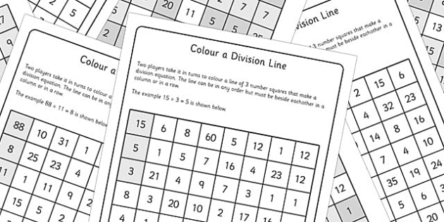 Year 3 Colour the Division Equation Game Sheets - dividing, maths