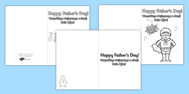 Father's Day Colouring Card Templates Colouring Polish Translation - polish, Design, father's day card, father's day cards, father's day activity, father's day resource, card, card template, colouring, fine motor skills