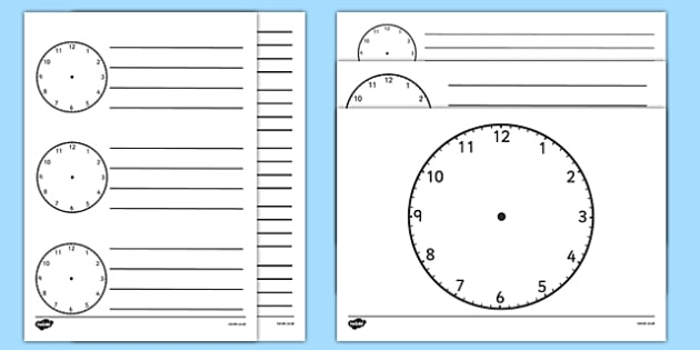 Blank Clock Templates - blank clock templates, blank clock, time, clock, template, templates, making clocks, activity, time, units of time, day, hour, minute, second