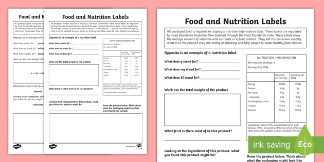 Food and Nutrition Labels Activity Sheet - Australia YR 3 and 4