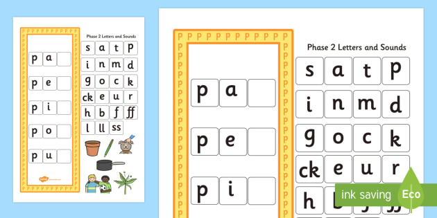 CVC p Word Activity Including Phase 2 Letters and Sounds - phases