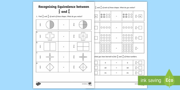 Recognising Equivalence Between One Half and Two Quarters Activity Sheet - Learning from home, Maths, Workbooks, worksheet, activity, quarter, half, 2 quarters, same, equal, b