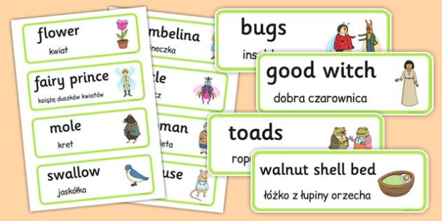 Thumbelina Word Cards Polish Translation - polish, thumbelina, word cards, word, cards