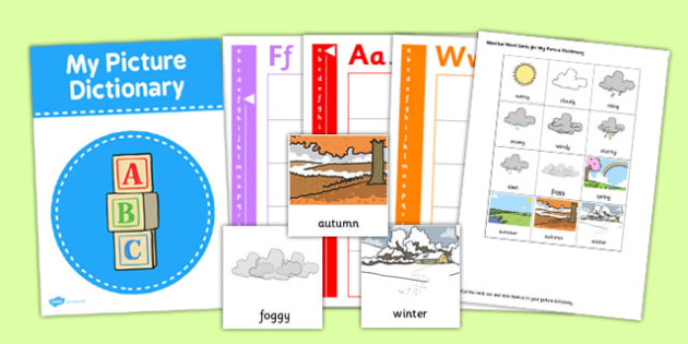 Picture Dictionary Weather Word Cards - picture, dictionary