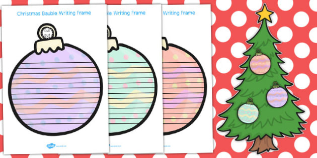 Christmas Bauble Writing Frames - australia, writing, bauble