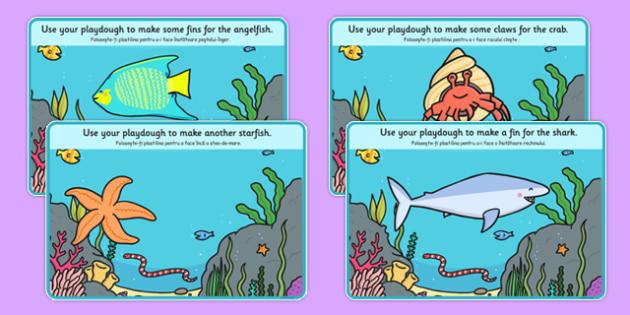 Under the Sea Playdough Mats Romanian Translation - Romanian, bilingual, playdough, mat, sea, fish