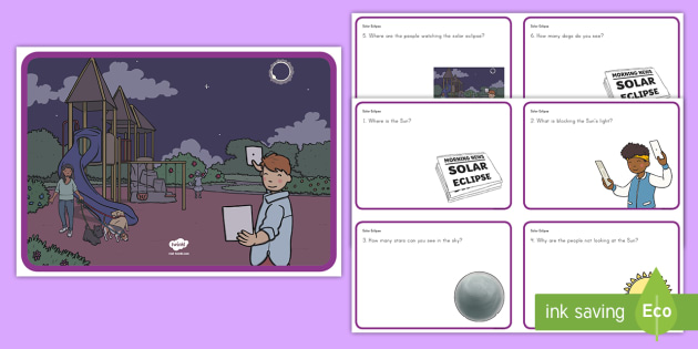 Solar Eclipse Scene and Question Cards - Solar Eclipse, solar eclipse 2017, earth moon and sun, solar eclipse science
