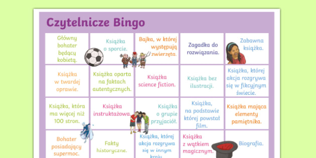 Book Reading Bingo A3 Display Poster Polish