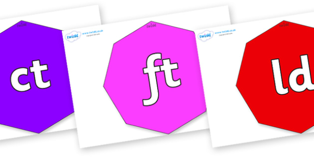 Final Letter Blends on Octagons - Final Letters, final letter, letter blend, letter blends, consonant, consonants, digraph, trigraph, literacy, alphabet, letters, foundation stage literacy