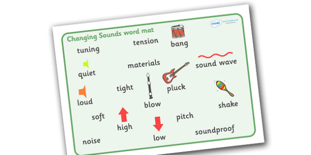 Changing Sounds Word Mat - changing sounds, tuning, tension, loud, quiet, high, low, shake, sound wave, mat, word mat, writing mat, aid