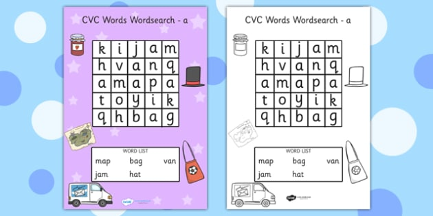 CVC Wordsearch a - CVC, word search, word games, games, CVC words