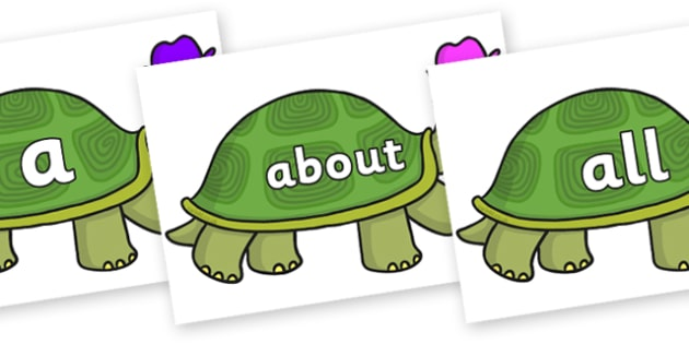100 High Frequency Words on Tortoise - High frequency words, hfw, DfES Letters and Sounds, Letters and Sounds, display words