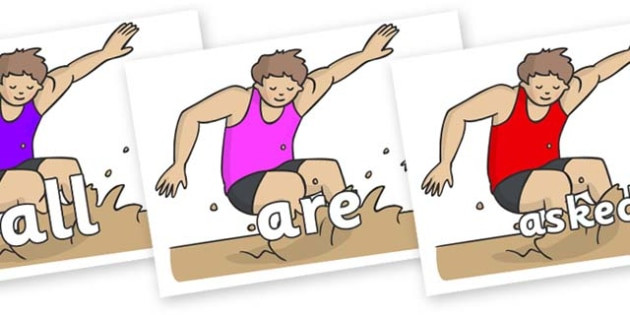 Tricky Words on Long Jump - Tricky words, DfES Letters and Sounds, Letters and sounds, display, words