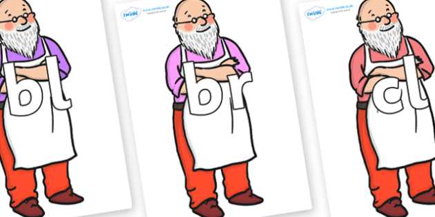Initial Letter Blends on Mr Clause to Support Teaching on The Jolly Christmas Postman - Initial Letters, initial letter, letter blend, letter blends, consonant, consonants, digraph, trigraph, literacy, alphabet, letters, foundation stage literacy