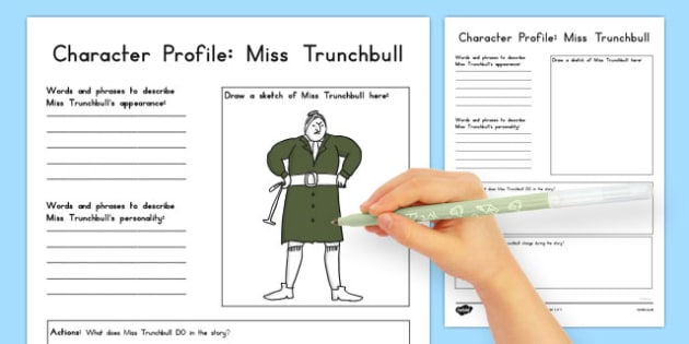 Miss Trunchbull Character Profile Worksheet to Support Teaching on Matilda - australia