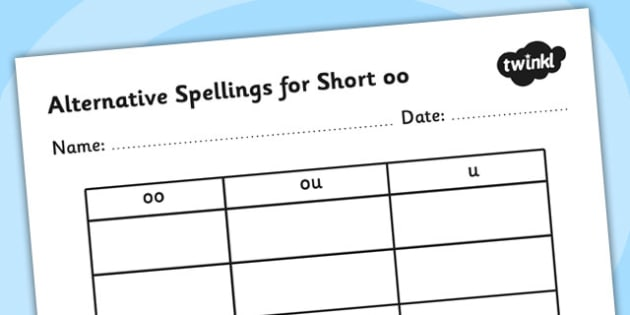 Alternative Spellings for Short oo Table Worksheet - alternative spellings for oo, table worksheet pack, table worksheet, oo worksheet