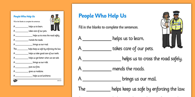 People Who Help Us Fill in the Blanks Worksheet - people who help us, people who help us worksheet, people who help us fill in the blanks