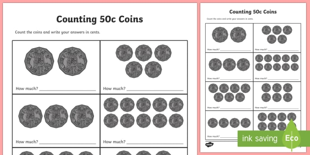 Counting 50c Coins Activity Sheet