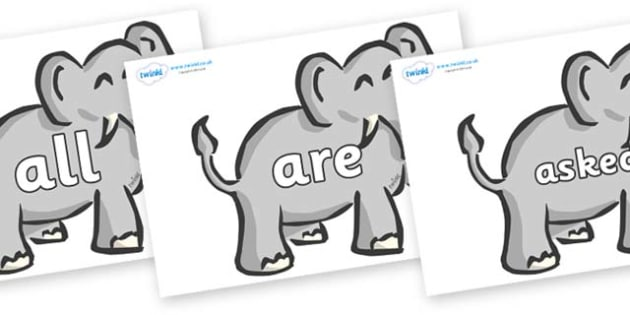Tricky Words on Elephants - Tricky words, DfES Letters and Sounds, Letters and sounds, display, words
