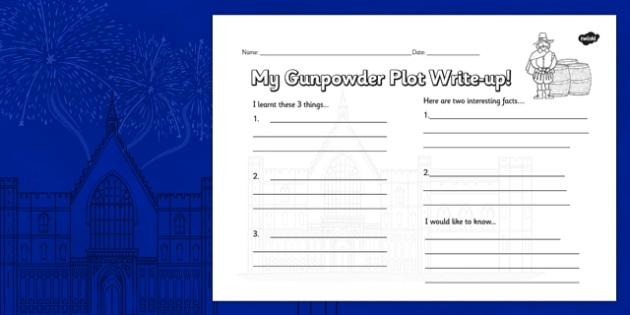 The Gunpowder Plot Write Up Worksheet - Bonfire, Plot, Fawkes