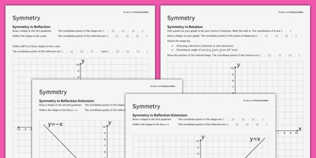 KS3_KS4 Maths Student Led Practice Sheets Symmetry - maths, KS3, KS4, GCSE, worksheet, practise, independent, growth mindset, symmetry, transformation, reflection, rotation, shape
