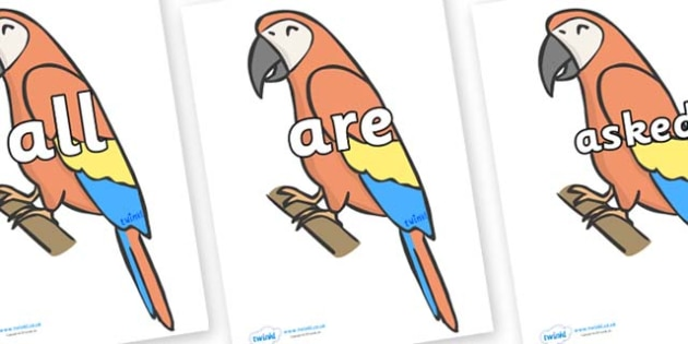 Tricky Words on Parrots - Tricky words, DfES Letters and Sounds, Letters and sounds, display, words