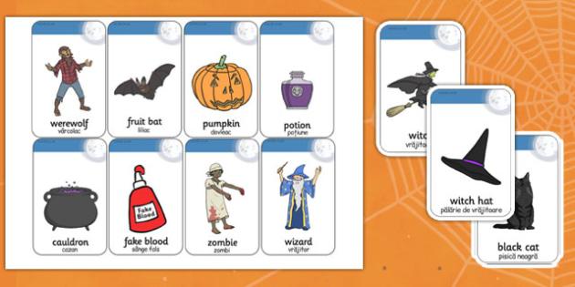 Halloween Flashcards Romanian Translation - romanian, halloween, hallowe'en, flashcards, flash, cards