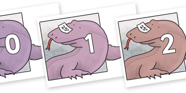 Numbers 0-31 on Komodo Dragon to Support Teaching on The Great Pet Sale - 0-31, foundation stage numeracy, Number recognition, Number flashcards, counting, number frieze, Display numbers, number posters