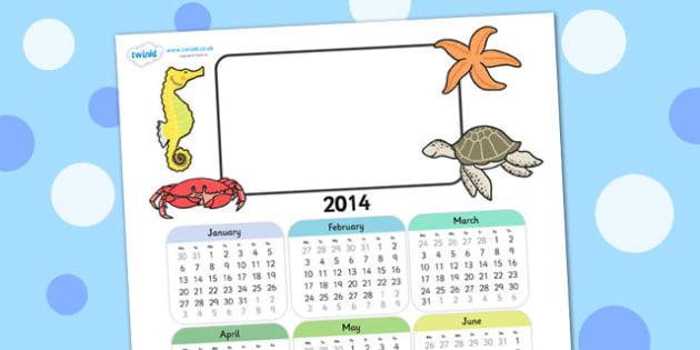 2014 Under the Sea Themed Editable Calendar - under the sea, editable calendar, calendar, editable, themed calendar, date, photo calendar, themed editable