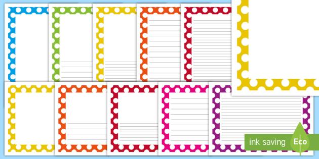 Polka Dot Page Borders - page borders, borders, writing frame