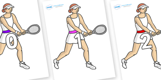 Numbers 0-50 on Tennis Players - 0-50, foundation stage numeracy, Number recognition, Number flashcards, counting, number frieze, Display numbers, number posters