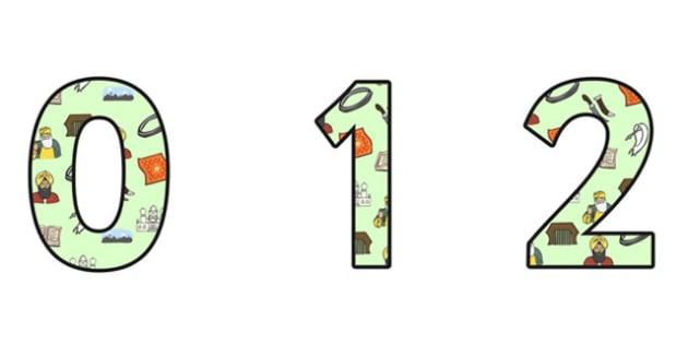 Sikhism Display Numbers - sikhism, religion, re, sikhism display, sikhism themed numbers, sikhism cut out numbers, sikhism themed numbers 0-9, sikh numbers