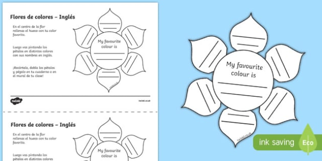 Ficha de actividad - Flores de colores - inglés
