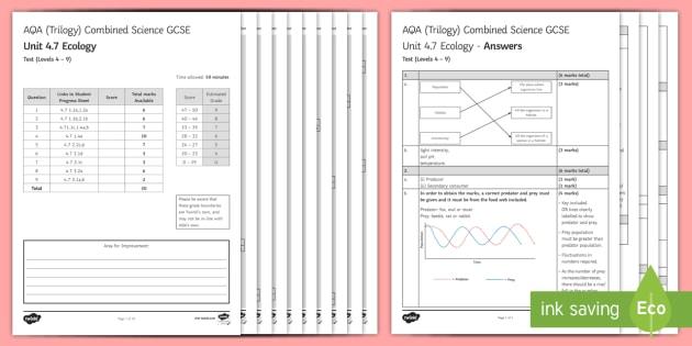 AQA (Trilogy) Unit 4.7 Ecology Test - KS4 Assessment, Test. community, habitat, population, predator prey relationship, food web, adaptati