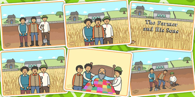 The Farmer and His Sons Story Sequencing - aesops fables, stories