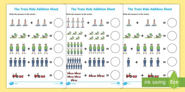 The Train Ride Addition Sheet - the train ride, addition, sheet, the train ride worksheet, addition worksheet, math worksheet, numeracy, numbers, adding