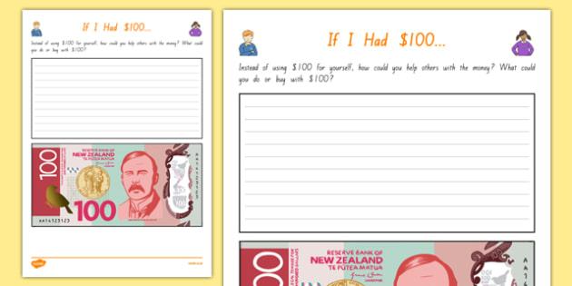 If I Had $100... Activity Sheet, worksheet
