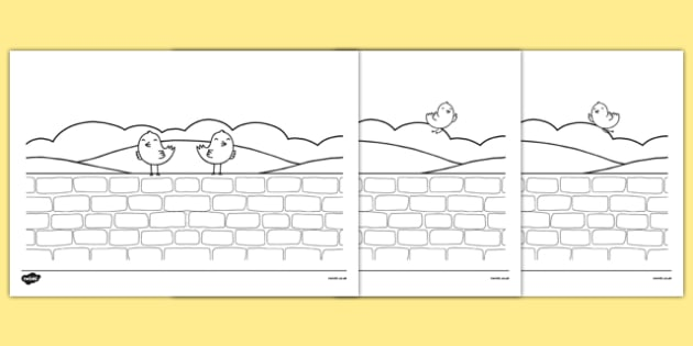 Two Little Dickie Birds Story Colouring Sheets - two little dickie birds, story, colouring, sheets, colour