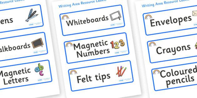 Rainbow Themed Editable Writing Area Resource Labels - Themed writing resource labels, literacy area labels, writing area resources, Label template, Resource Label, Name Labels, Editable Labels, Drawer Labels, KS1 Labels, Foundation Labels, Foundatio