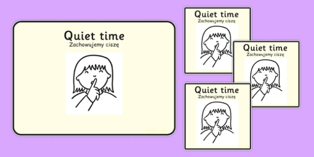 Quiet Time Visual Support Cards Polish Translation - polish, behaviour, behaviour cards