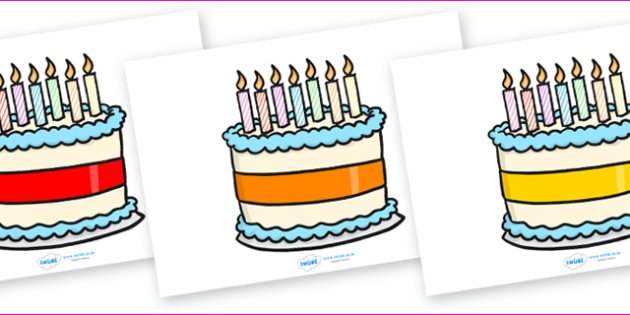 Editable Birthday Cakes (7 Candles) - Birthday, cake, editable, candles, birthday poster, birthday display, months of the year, cake, balloons, happy birthday