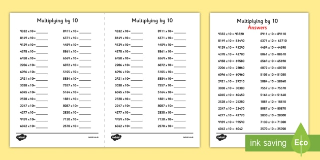Multiplying 4 Digit Numbers by 10 A5 Activity Sheet - multiplying, 4 digit, numbers, by 1, activity, sheet, worksheet