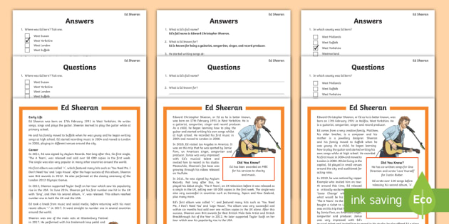 KS2 Ed Sheeran Differentiated Reading Comprehension Activity - music, biography, ks2 literacy, musician, significant Individuals