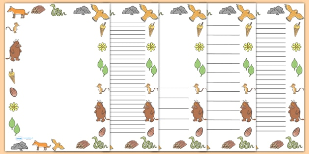 The Gruffalo Full Page Borders - page border, border, frame, writing frame, writing template, the gruffalo, gruffalo, gruffalo borders, gruffalo writing frames, writing aid, writing, A4 page, page edge, writing activities, lined page, lined pages