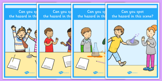 Identifying Hazards in the Science Lab A4 Display Posters - identifying, hazards, science lab, a4, display posters, display, posters