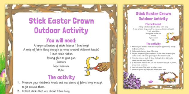 Stick Easter Crown Outdoor Activity - Easter, craft, stick, easter crown, crown, outdoor activity, activity, outdoor