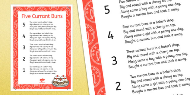 Five Currant Buns Nursery Rhyme Poster - five currant buns, nursery rhyme, poster, display