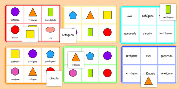 2D Shape Bingo Portuguese - portuguese, 2d shape, bingo, game, activity, 2d, shape, maths
