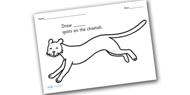 Cheetah Spots Counting and Colouring Sheet - safari, safari animals, on safari, safari colouring sheets, safari counting sheets, safari numeracy, counting